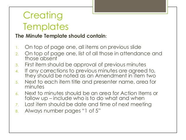 taking meeting minutes template