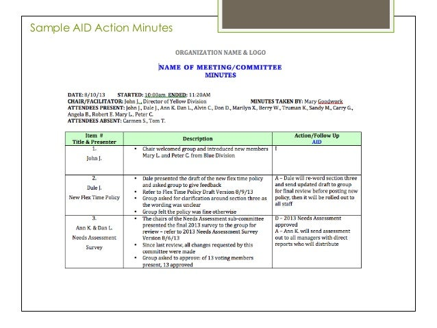 minutes and actions template