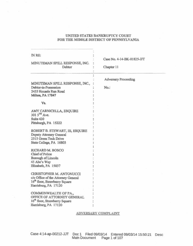 UNITED STATES BANKRUPTCY COURT FOR THE MIDDLE DISTRICT OF PENNSYLVANIA INRE: MINUTEMAN SPILL RESPONSEt INC. Debtor Case No...