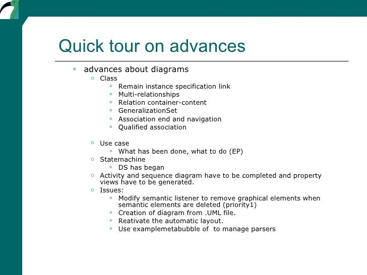 Quick tour on advances <ul><ul><li>advances about diagrams </li></ul></ul><ul><ul><ul><li>Class </li></ul></ul></ul><ul><u...
