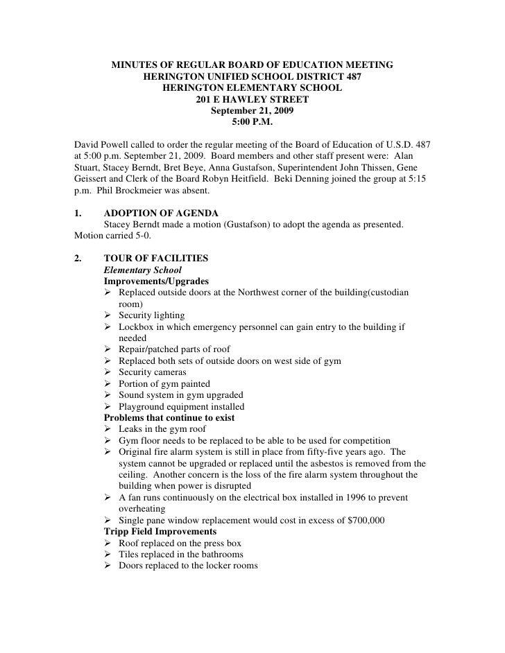 MINUTES OF REGULAR BOARD OF EDUCATION MEETING<br />HERINGTON UNIFIED SCHOOL DISTRICT 487<br />HERINGTON ELEMENTARY SCHOOL<...