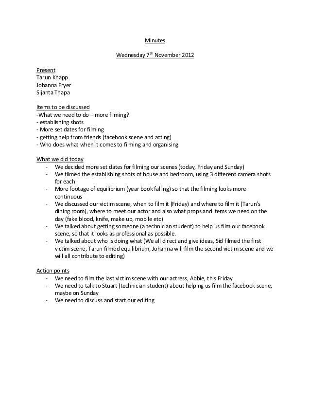 Minutes                               Wednesday 7th November 2012PresentTarun KnappJohanna FryerSijanta ThapaItems to be d...