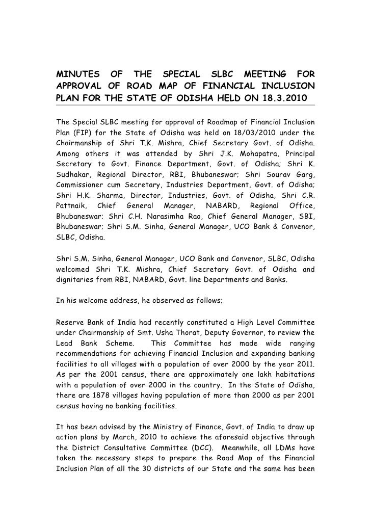 MINUTES OF THE SPECIAL SLBC MEETING FOR APPROVAL OF ROAD MAP OF FINANCIAL INCLUSION PLAN FOR THE STATE OF ODISHA HELD ON 1...