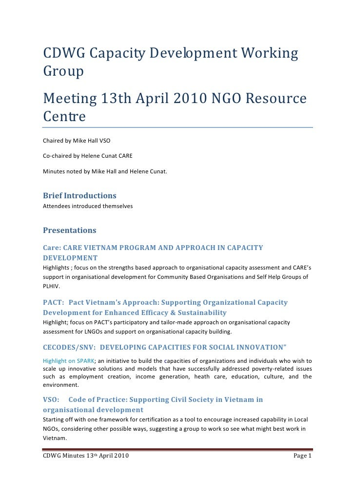 CDWG Capacity Development Working Group Meeting 13th April 2010 NGO Resource Centre Chaired by Mike Hall VSO  Co-chaired b...