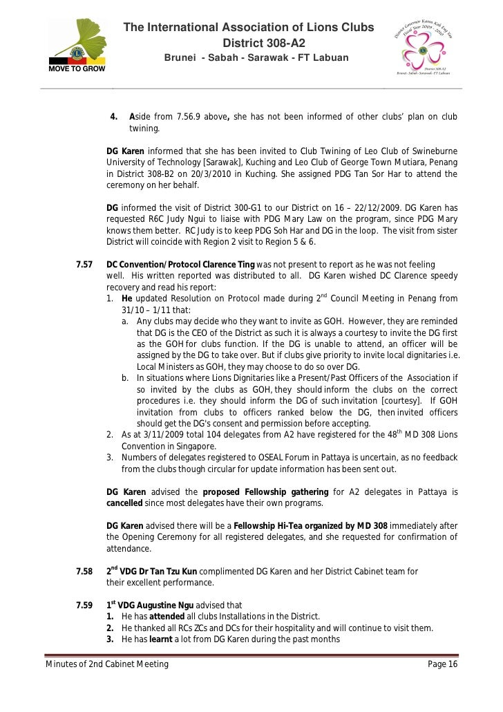 Minutes Of 2nd Cab Mtg
