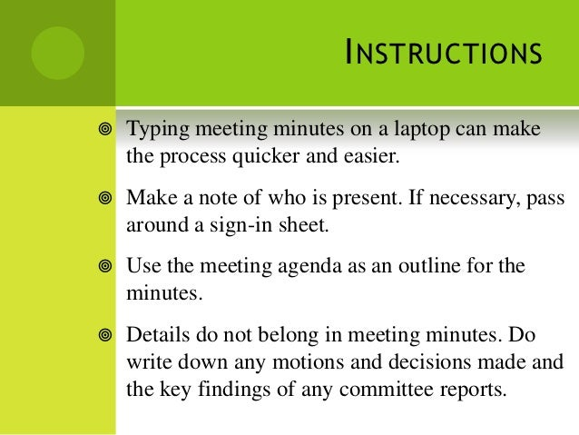 reported speech 12 i nstructions typing meeting minutes
