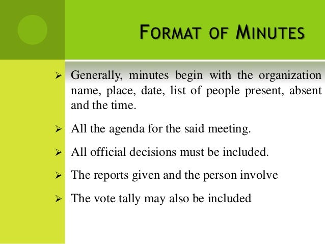 SlideShare  Minutes Format For Meeting