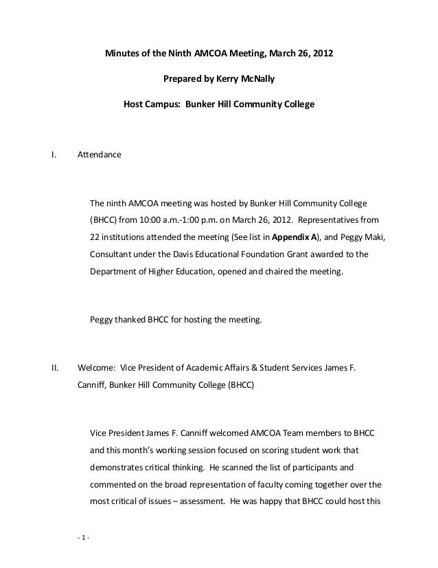 Minutes of the Ninth AMCOA Meeting, March 26, 2012Prepared by Kerry McNallyHost Campus: Bunker Hill Community CollegeI. At...