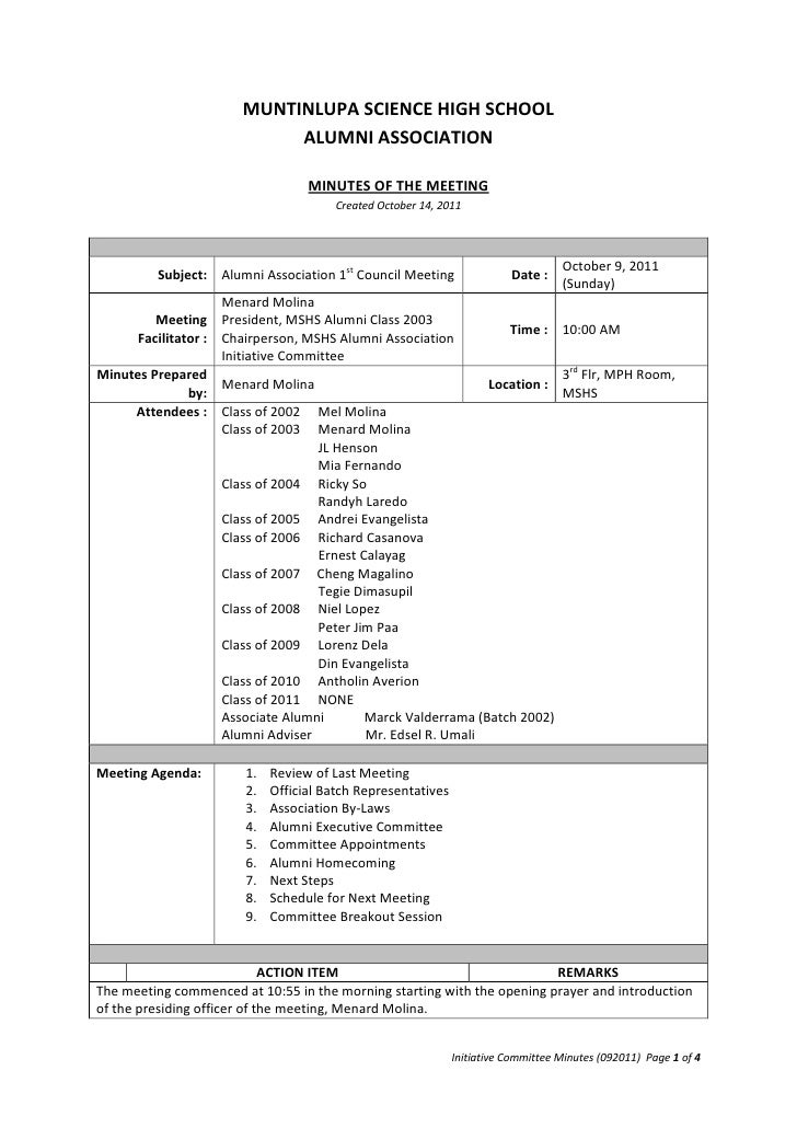 sample minutes of the meeting in school minutes of the meeting