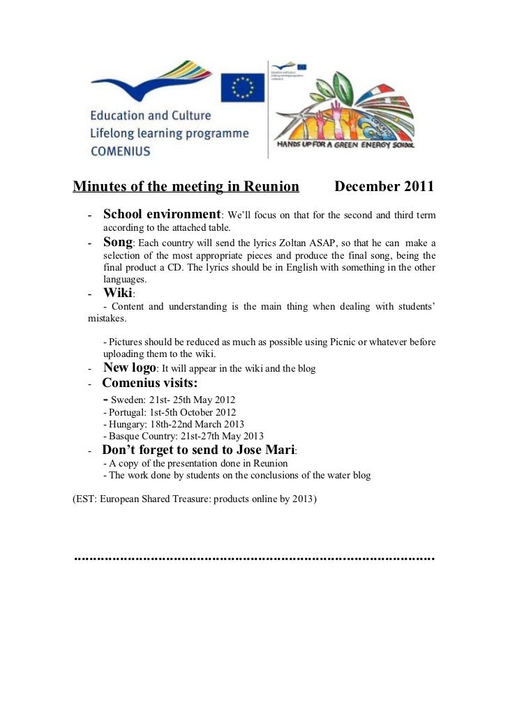 Minutes of the meeting in la réunion