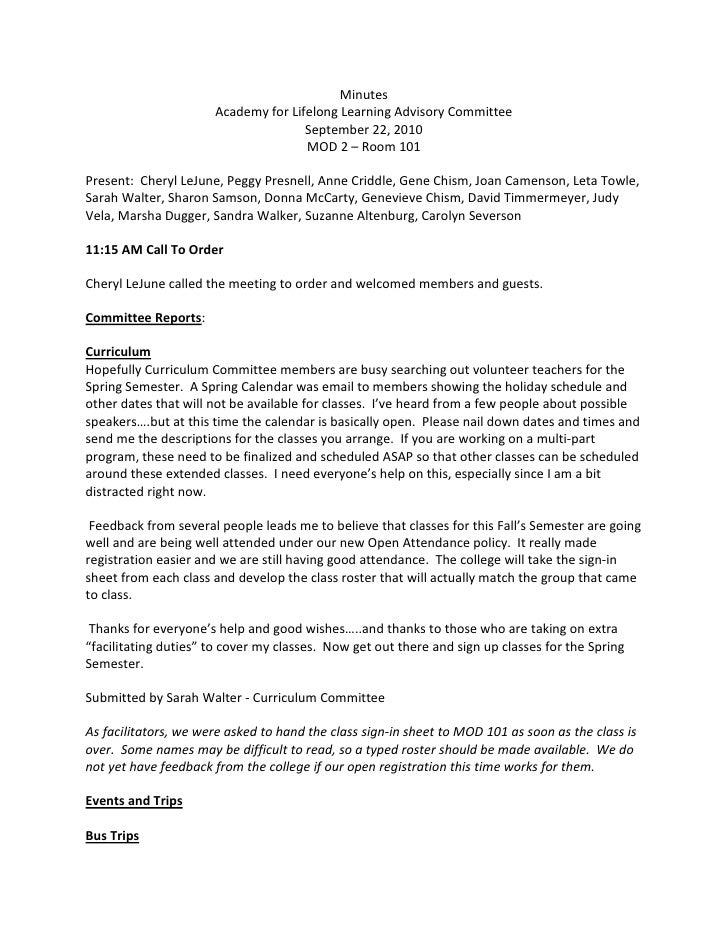Minutes                       Academy for Lifelong Learning Advisory Committee                                      Septem...
