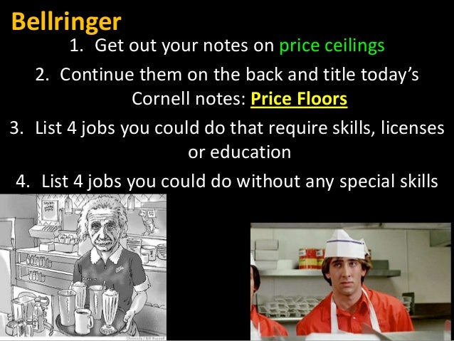 Bellringer  1. Get out your notes on price ceilings 2. Continue them on the back and title today's Cornell notes: Price Fl...