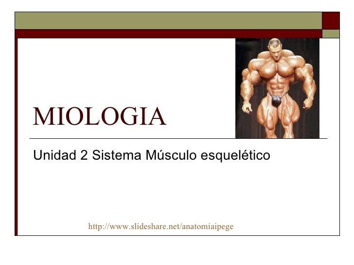 MIOLOGIA Unidad 2 Sistema Músculo esquelético http://www.slideshare.net/anatomiaipege