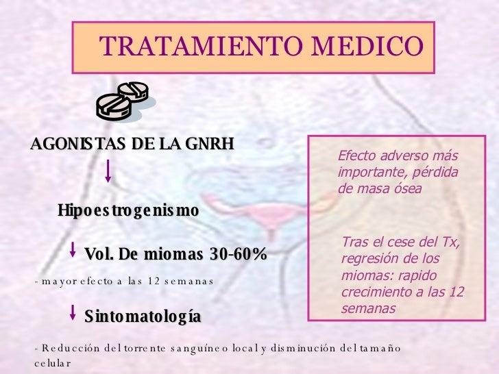 <ul><li>AGONISTAS DE LA GNRH </li></ul><ul><li>Hipoestrogenismo </li></ul><ul><li>Vol. De miomas 30-60% </li></ul><ul><li>...
