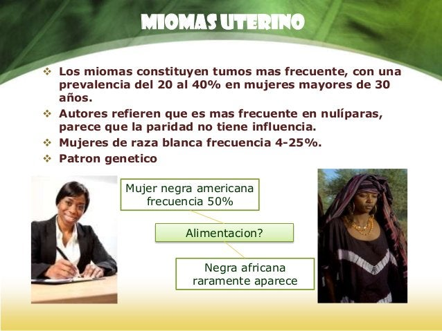 MIOMAS UTERINO FACTORES DE RIESGO Factores HereditariosFactores Raciales El riesgo de aparición de miomas es mayor en aque...