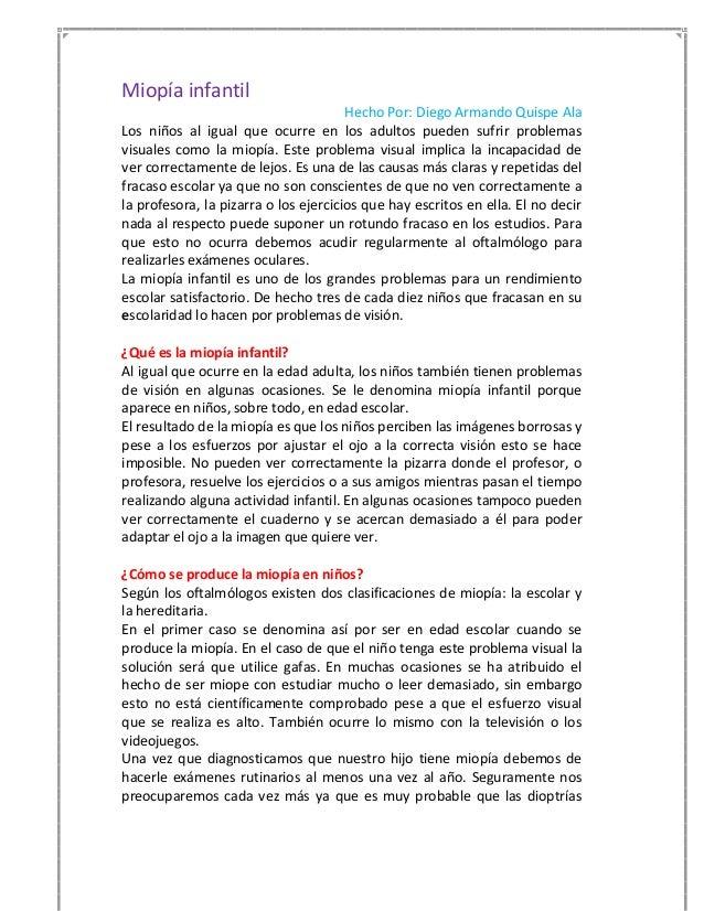 Miopía infantil                                       Hecho Por: Diego Armando Quispe AlaLos niños al igual que ocurre en ...