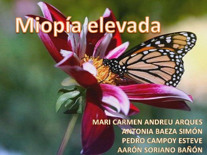 Miopía elevada<br />MARI CARMEN ANDREU ARQUES<br />ANTONIA BAEZA SIMÓN<br />PEDRO CAMPOY ESTEVE<br />AARÓN SORIANO BAÑÓN<b...