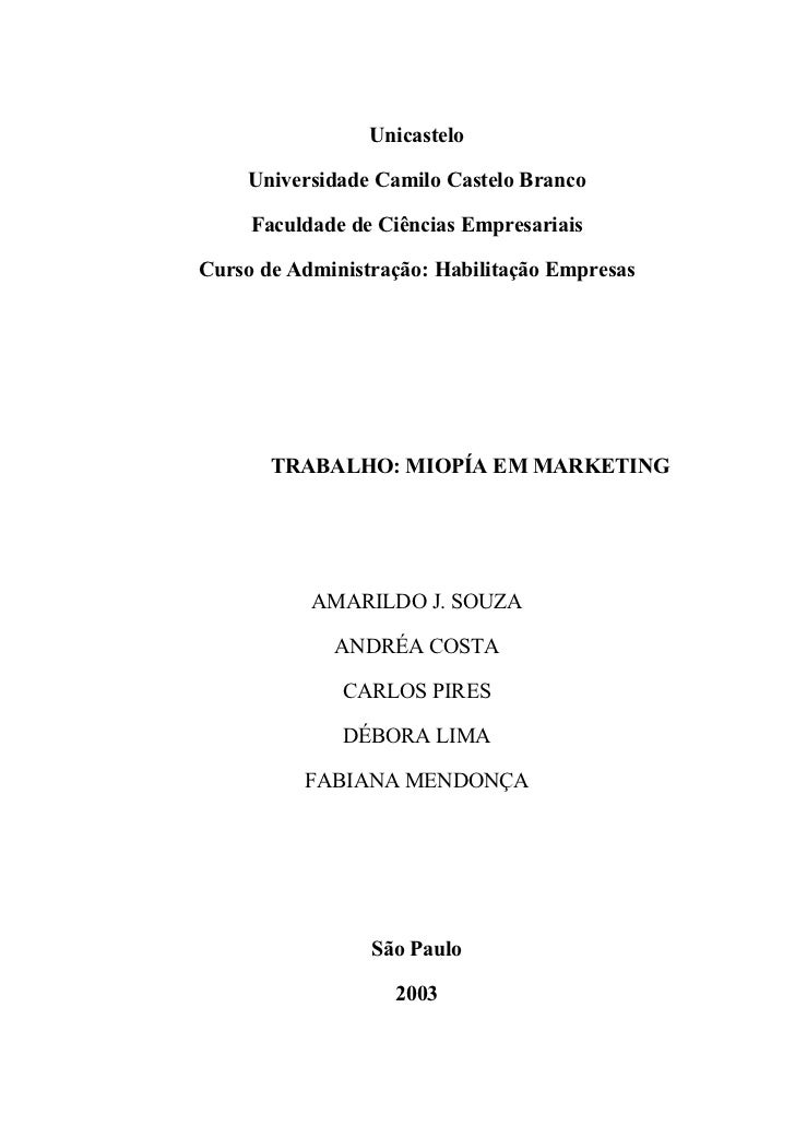 Unicastelo    Universidade Camilo Castelo Branco     Faculdade de Ciências EmpresariaisCurso de Administração: Habilitação...