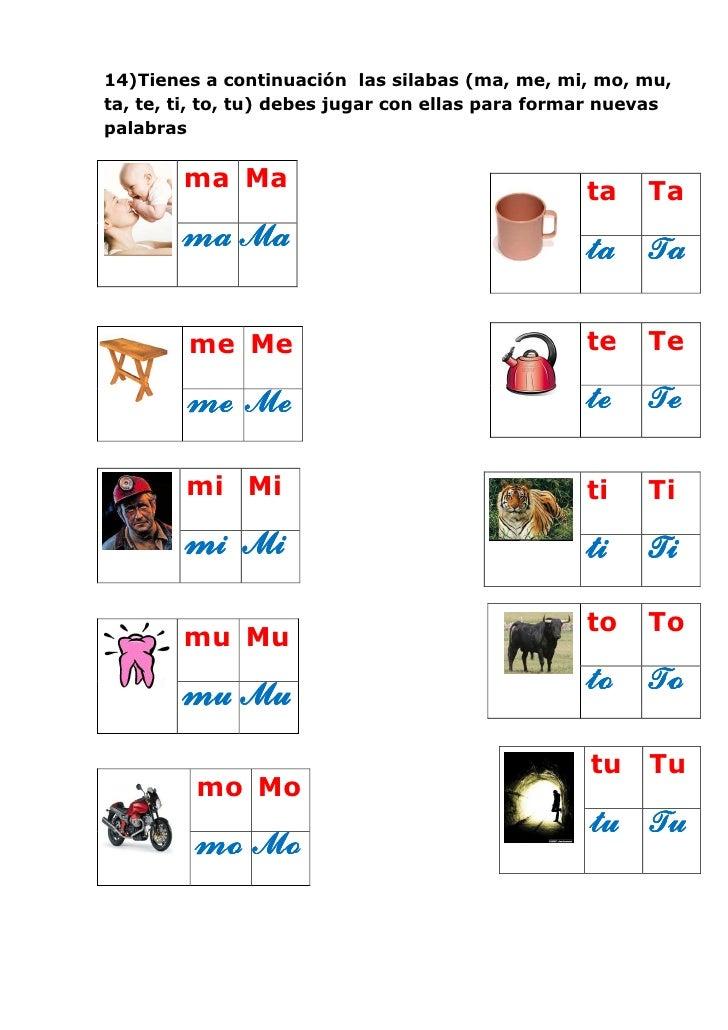 15)En la siguiente actividad vamos a combinar las silabas para formarnuevas palabras, en el casillero rosado va a escribir...