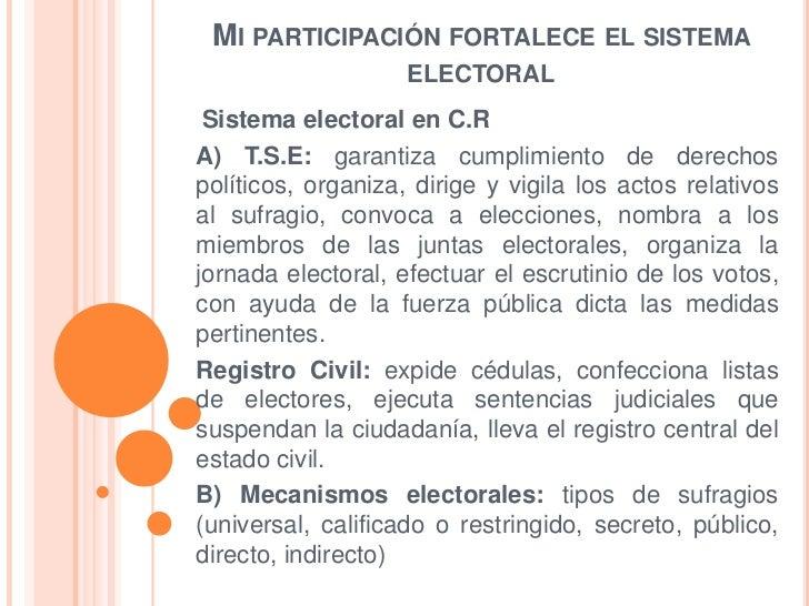 MI PARTICIPACIÓN FORTALECE EL SISTEMA                    ELECTORAL Sistema electoral en C.RA) T.S.E: garantiza cumplimient...