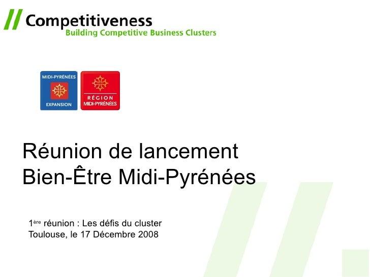 Réunion de lancement Bien-Être Midi-Pyrénées 1 ère  réunion : Les défis du cluster Toulouse, le 17 Décembre 2008