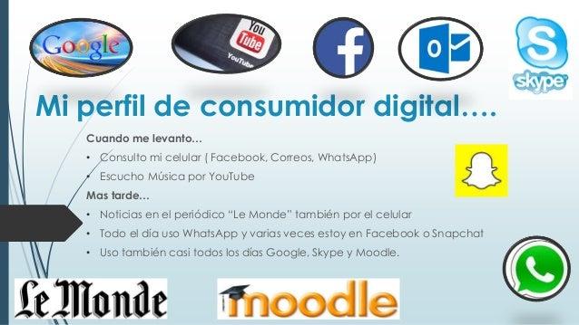 Mi perfil de consumidor digital…. Cuando me levanto… • Consulto mi celular ( Facebook, Correos, WhatsApp) • Escucho Música...
