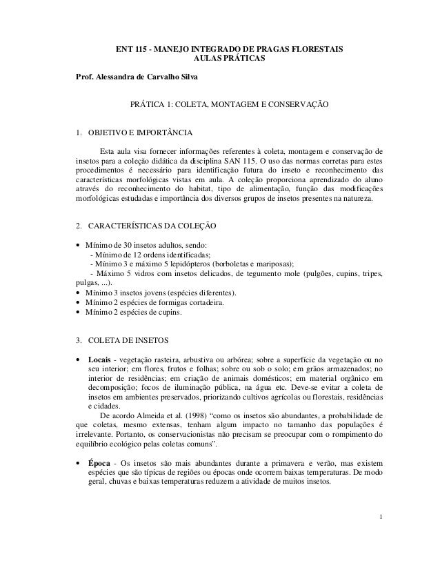1 ENT 115 - MANEJO INTEGRADO DE PRAGAS FLORESTAIS AULAS PRÁTICAS Prof. Alessandra de Carvalho Silva PRÁTICA 1: COLETA, MON...