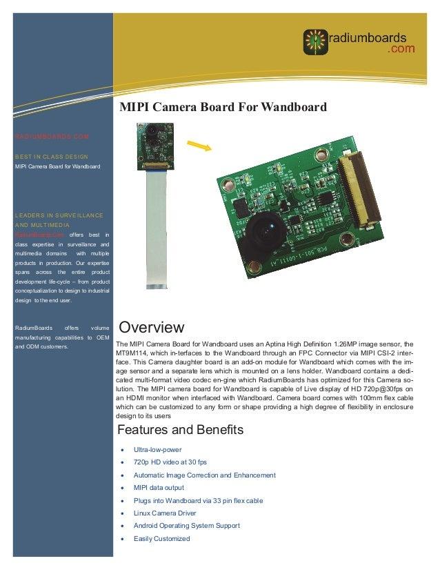 Information Technology  MIPI Camera Board For Wandboard RADIUMBOARDS.COM BEST IN CLASS DESIGN MIPI Camera Board for Wandbo...