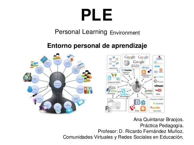 PLE Personal Learning Environment Entorno personal de aprendizaje  Ana Quintanar Braojos. Práctica Pedagogía. Profesor: D....