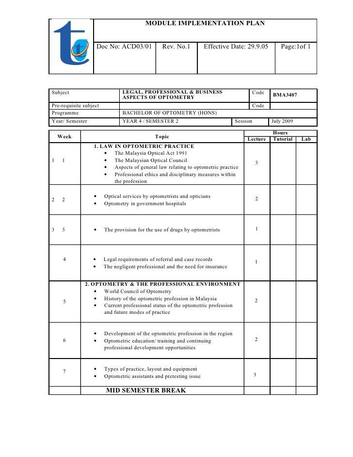 MODULE IMPLEMENTATION PLAN                         Doc No: ACD03/01           Rev. No.1           Effective Date: 29.9.05 ...