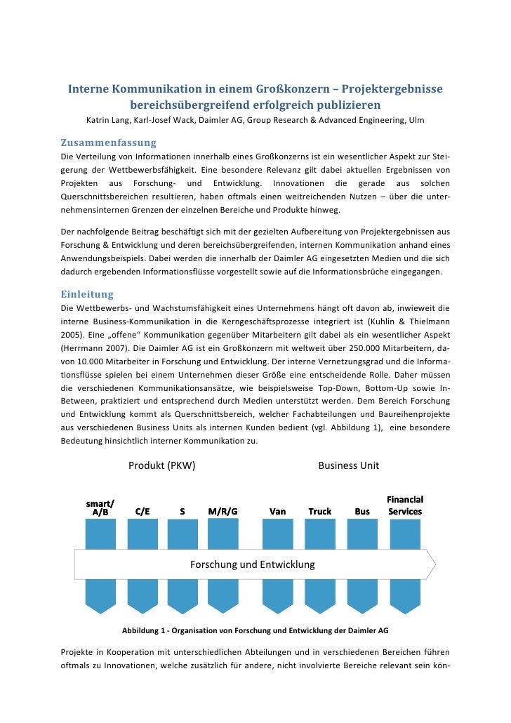 Interne Kommunikation in einem Großkonzern – Projektergebnisse           bereichsübergreifend erfolgreich publizieren     ...