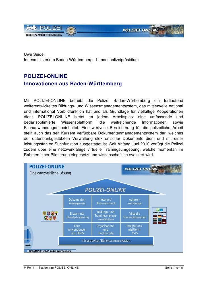 Uwe SeidelInnenministerium Baden-Württemberg - LandespolizeipräsidiumPOLIZEI-ONLINEInnovationen aus Baden-WürttembergMit P...