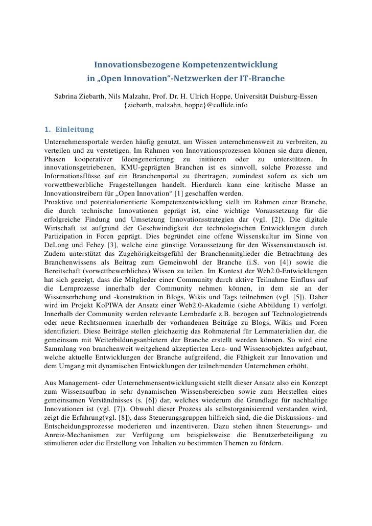 """Innovationsbezogene Kompetenzentwicklung              in """"Open Innovation""""-Netzwerken der IT-Branche   Sabrina Ziebarth, N..."""