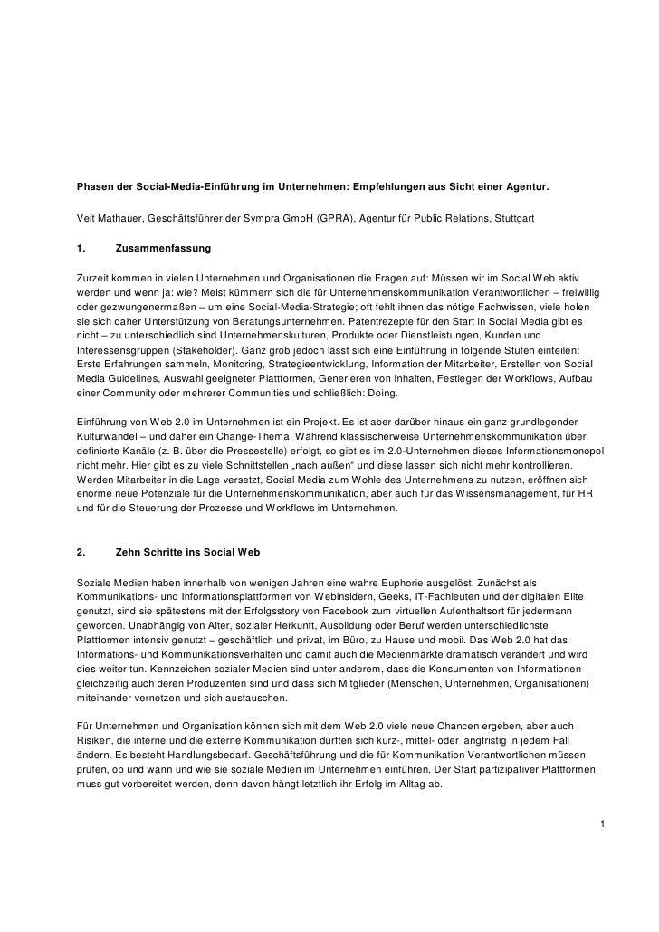 Phasen der Social-Media-Einführung im Unternehmen: Empfehlungen aus Sicht einer Agentur.Veit Mathauer, Geschäftsführer der...