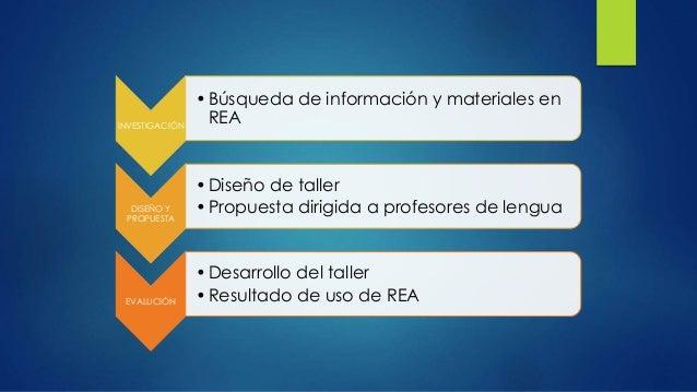 INVESTIGACIÓN  •Búsqueda de información y materiales en  REA  DISEÑO Y  PROPUESTA  • Diseño de taller  • Propuesta dirigid...