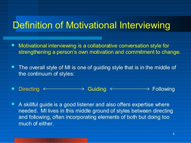 motivational interviewing The following video provides an overview of motivational interviewing it is excerpted from the bmi 2 series produced by the pros (pediatric research in office settings)/university of.