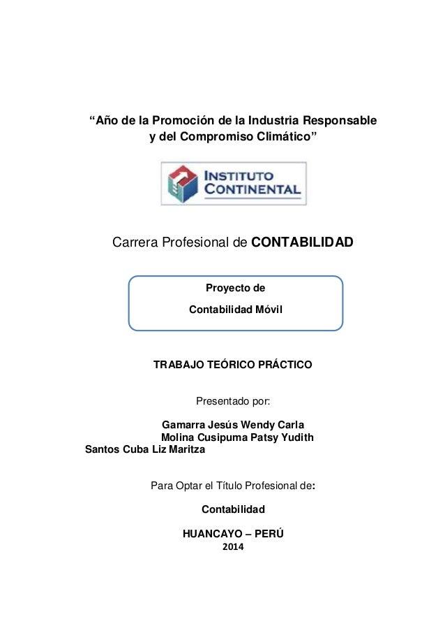 """""""Año de la Promoción de la Industria Responsable y del Compromiso Climático"""" Carrera Profesional de CONTABILIDAD TRABAJO T..."""