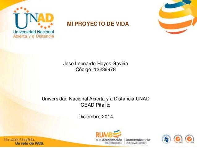 MI PROYECTO DE VIDA  Jose Leonardo Hoyos Gaviria  Código: 12236978  Universidad Nacional Abierta y a Distancia UNAD  CEAD ...