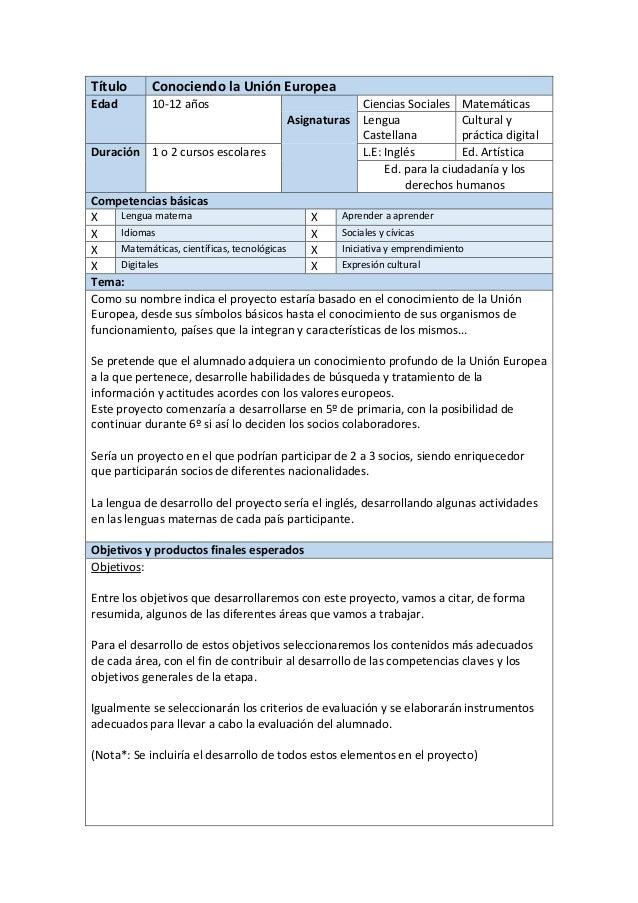 Título Conociendo la Unión Europea Edad 10-12 años Ciencias Sociales Matemáticas Asignaturas Lengua Castellana Cultural y ...