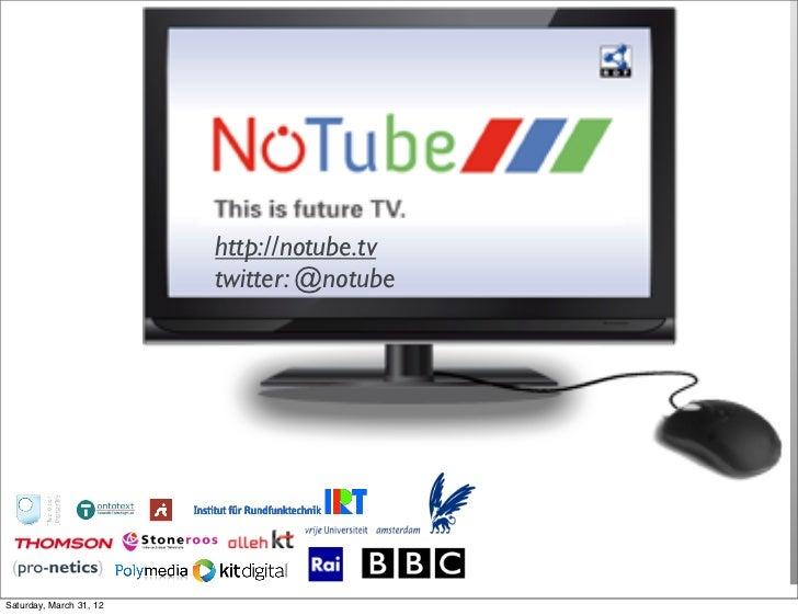 http://notube.tv                         twitter: @notubeSaturday, March 31, 12