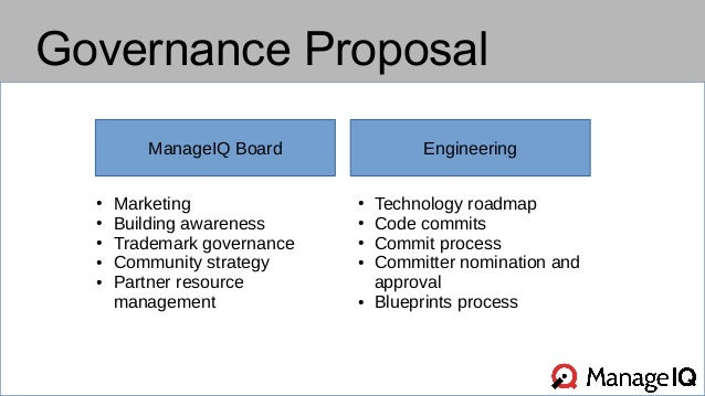 Governance Proposal  ManageIQ Board Engineering  ● Technology roadmap  ● Code commits  ● Commit process  ● Committer nomin...