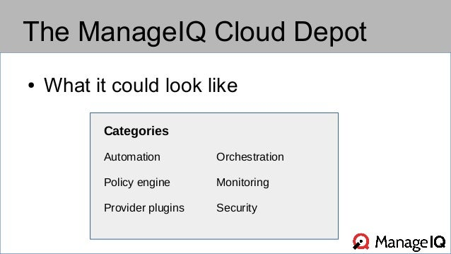 The ManageIQ Cloud Depot  ● What it could look like  Categories  Automation Orchestration  Policy engine Monitoring  Provi...