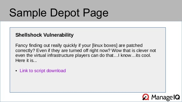 Sample Depot Page  Shellshock Vulnerability  Fancy finding out really quickly if your [linux boxes] are patched  correctly...