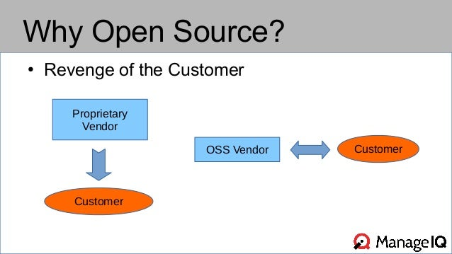 Why Open Source?  ● Revenge of the Customer  Proprietary  Vendor  Customer  OSS Vendor Customer