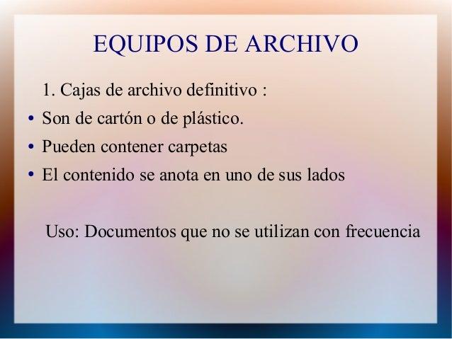 Materiales de oficina para archivos for Cuales son los equipos de oficina