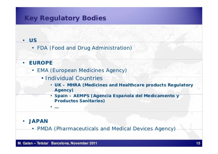 Key Regulatory Bodies  • US     • FDA (Food and Drug Administration)  • EUROPE     • EMA (European Medicines Agency)      ...