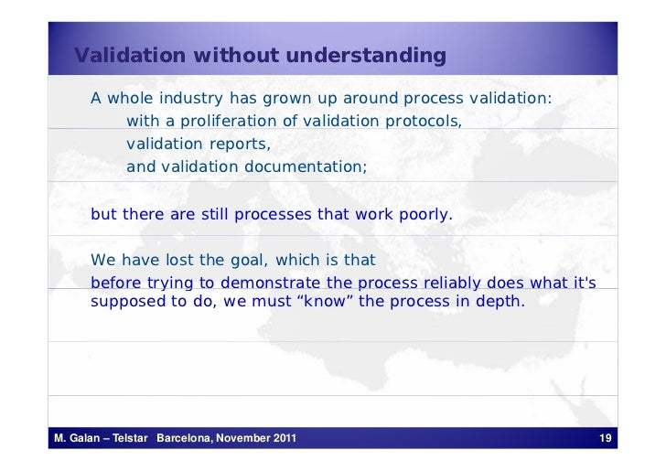 Validation without understanding      A whole industry has grown up around process validation:          with a proliferati...