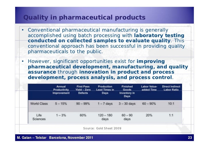 Quality in pharmaceutical products  • Conventional pharmaceutical manufacturing is generally    accomplished using batch p...