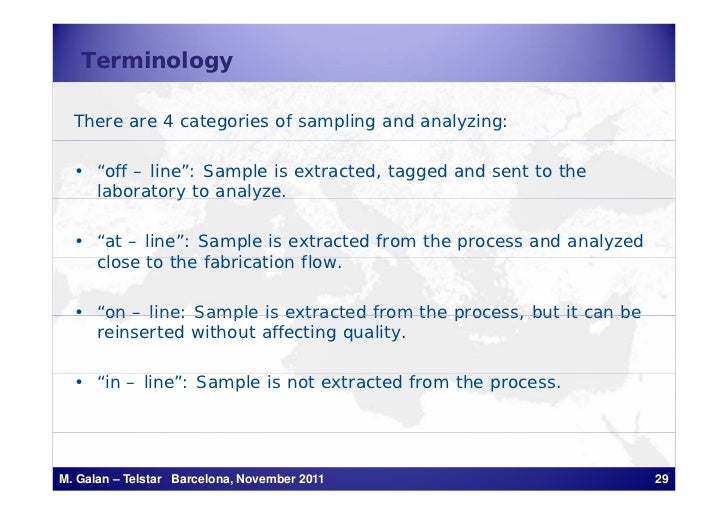 """Terminology  There are 4 categories of sampling and analyzing:  • """"off – line"""": Sample is extracted, tagged and sent to th..."""