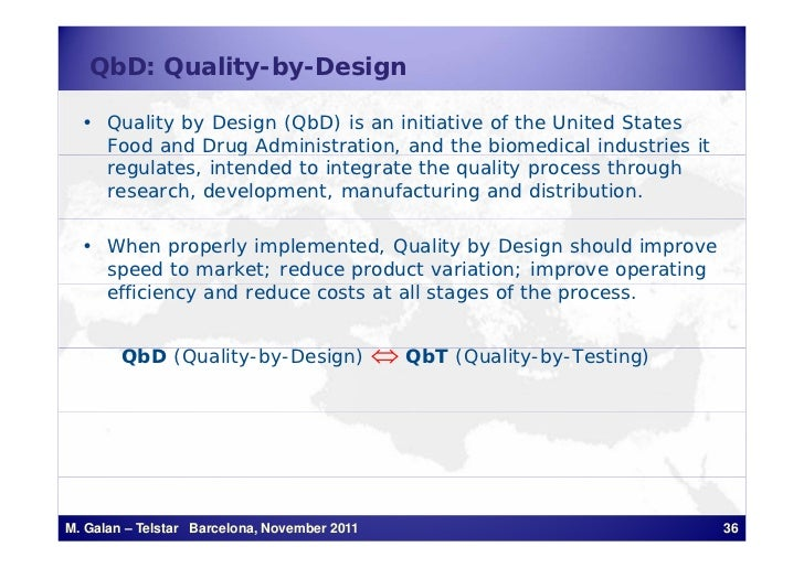QbD: Quality-by-Design  • Quality by Design (QbD) is an initiative of the United States    Food and Drug Administration, a...